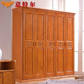 意特尔泰国进口橡木现代中式实木平开门衣柜橱五门衣柜组合特价
