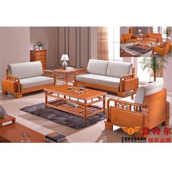 意特尔现代新中式 橡木全实木沙发组合简约大气高档客厅沙发特价