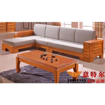 意特尔新品橡木沙发 现代中式客厅实木贵妃转角实木沙发组合特价