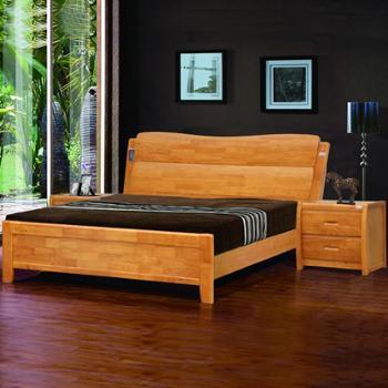 意特尔新品全实木橡木床简约现代大气雕花床头单双人床1.8米特价