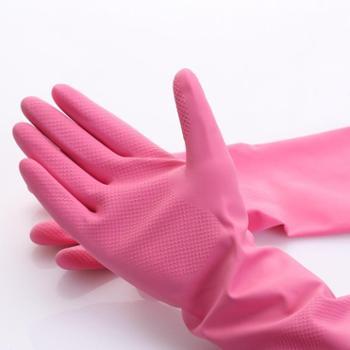 喷绒手套厨房洗碗洗衣防滑家务手套橡胶清洁手套5副装