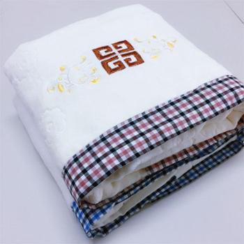 乐竹家纺 纯棉割绒大浴巾 格子布包边浴巾 单条装