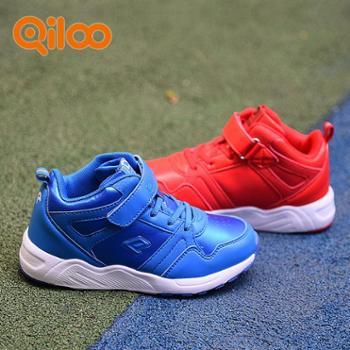 Qiloo儿童时尚纯色高帮运动鞋
