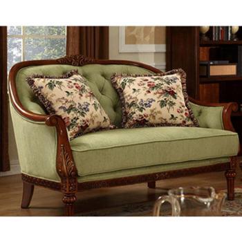 美式乡村布艺沙发组合 实木地中海沙发 柠檬绿休闲沙发