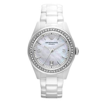 Armani/阿玛尼女表时尚镶钻女士手表白色陶瓷石英表女腕表AR1426