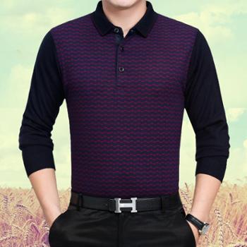 男装秋季男式长袖t恤中年男商务条纹翻领针织T恤衫品牌爸爸装