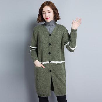 2017早秋新品韩版女士V领针织衫时尚优雅针织单排扣开衫外套