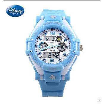 迪士尼50米超强防水儿童运动电子手表炫酷多功能双显表
