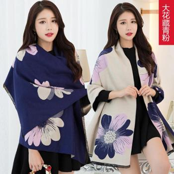 故事女人加厚仿羊绒围巾女秋冬季韩版百搭长款大花女士披肩两用