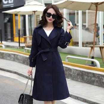 女装2017韩版秋冬新品中长款修身羊毛毛呢外套腰带高端双面呢大衣