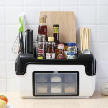 包邮厨房调料盒带盖塑料杂物整理调料架调味瓶刀叉收纳调味盒