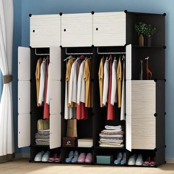 简易衣柜收纳柜子单人衣橱塑料组装储物柜经济型diy魔片组合衣柜