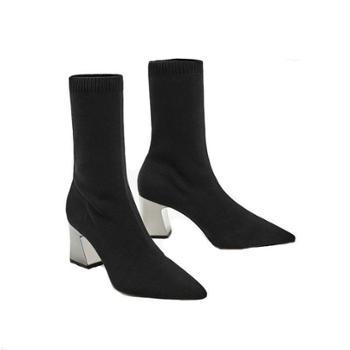 (鞋子)短靴女粗跟秋冬新款毛线针织袜靴尖头及踝靴弹力靴