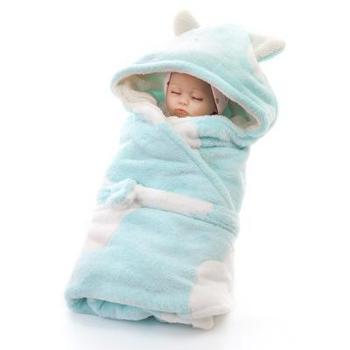 艾可馨胶印双层加厚新生儿包毯抱毯 新品婴儿宝宝抱毯