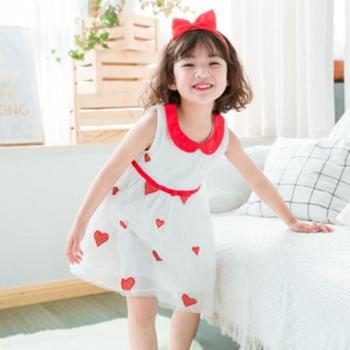 诗米克2019夏款娃娃领公主纱裙菠萝柠檬绣花女童连衣裙