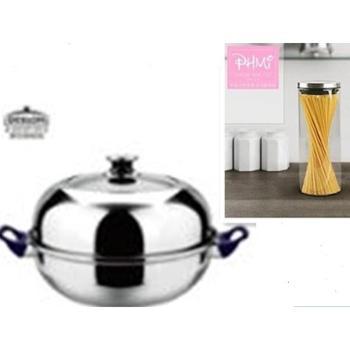德世朗蒸煮汤锅带蒸格DFS-D009+菲米生活 密封罐 单个装 高硼硅玻璃 知君实业