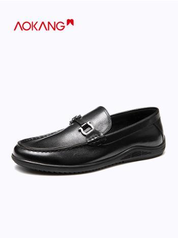 奥康2020秋季新款男士一脚蹬舒适简约时尚皮鞋乐福鞋软底豆豆鞋