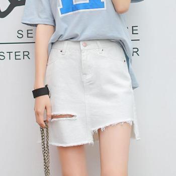 【亲春】2017新款高腰白色半身裙 不规则破洞牛仔短裙A字裙A376