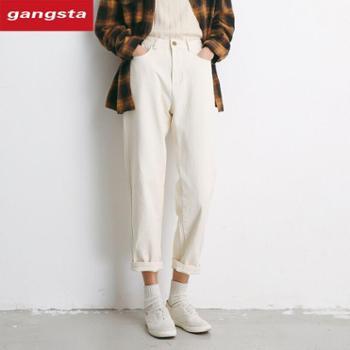 【gangsta】2018韩版高腰白色修身直筒裤休闲长裤【千盛百货】K130