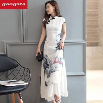 【gangsta】2018水墨画时尚复古风棉麻连衣裙【千盛百货】363