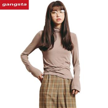【gangsta】新款女装弹力修身半高领纯色长袖打底衫T恤M132