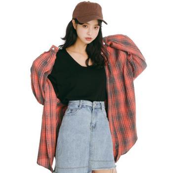 【gangsta】2019春季新款韩版纯棉学院风休闲长袖衬衫 M258