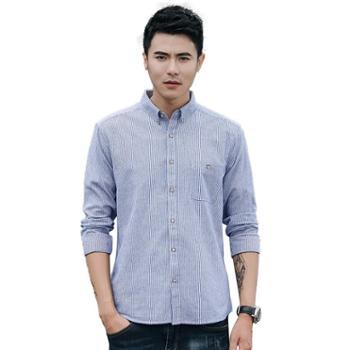 gangsta 新款条纹衬衫 男式衬衫日系长袖方领休闲条纹衬衣C1523