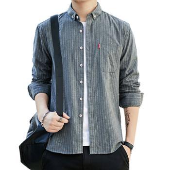 gangsta男士商务休闲长袖条纹衬衫韩版修身潮流衬衣磨毛寸衫CS99