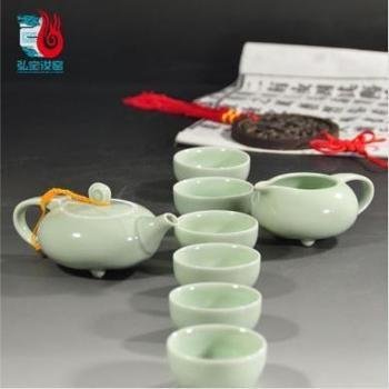 弘宝汝窑 玉质釉 玉质坐禅茶组十件套 礼盒包装