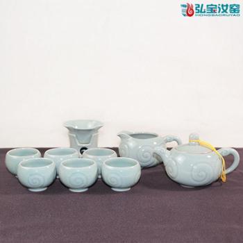 弘宝汝窑 粉青釉 三羊开泰十件套茶具套装 原产地汝瓷 匠心设计 礼盒包装