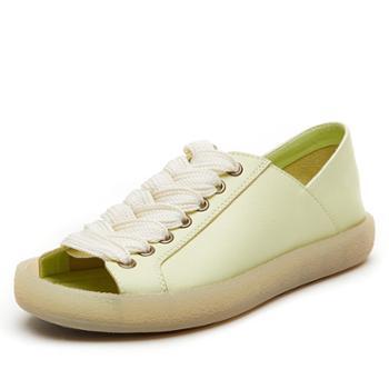 上匠风华夏季粗跟简约中跟一字扣带女凉鞋L356