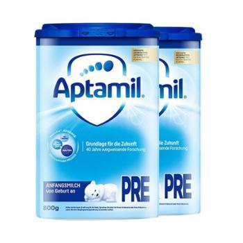 【2件装】德国爱他美(Aptamil)婴幼儿奶粉pre段(适合0-6个月)800克(新老包装随机发送)
