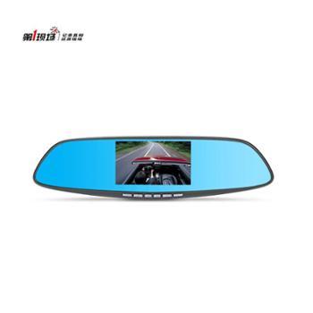 第1现场D261升级版后视镜行车记录仪1080p高清夜视前后双镜头倒车影像(实物黑色)