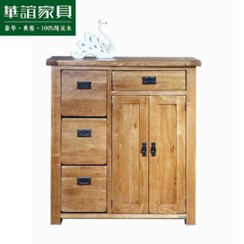 华谊家具 工厂直销英式乡村简约进口白橡木纯实木门厅鞋柜