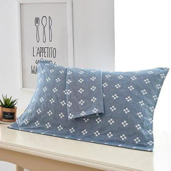 欧莱罗 三层纱布枕巾一对 一亩花田