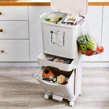 吉珂米家用创意厨房双层分类垃圾桶带盖大号防臭简约干湿分离