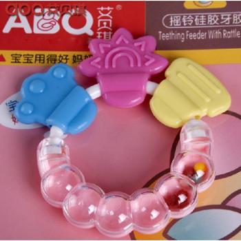 艾贝琪 咬牙胶磨牙棒婴儿宝宝硅胶摇铃玩具口咬胶磨牙器