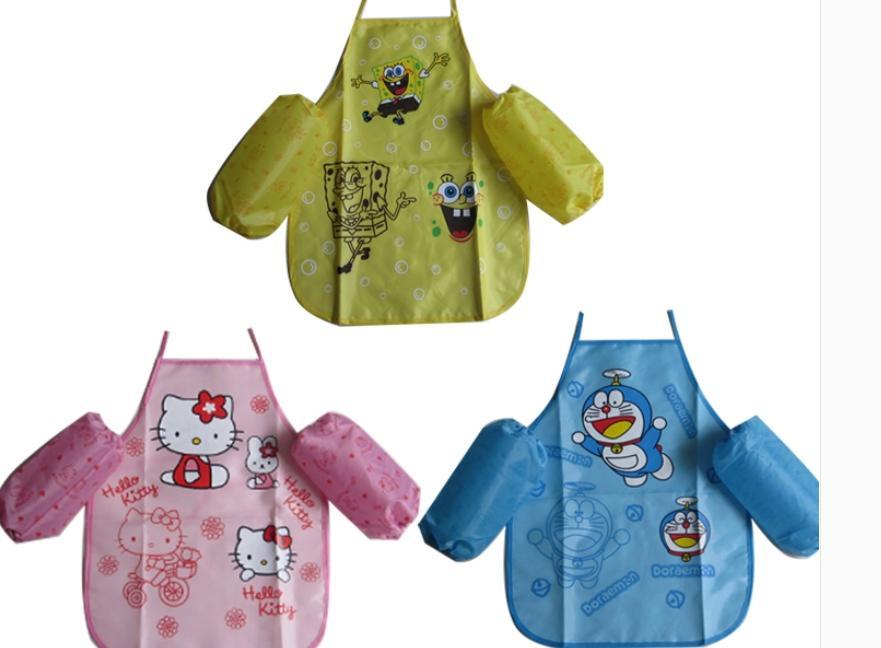 儿童围裙 画画衣 可爱卡通防水围裙 宝宝吃饭衣罩衣袖套2件套图片