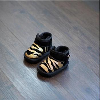 小步点童鞋 2016冬款儿童靴真皮斑马男女宝宝雪地靴短靴婴儿学步棉鞋0-1-2-3