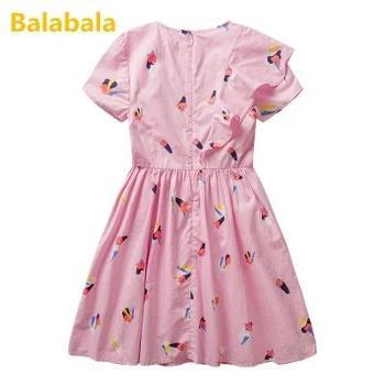 巴拉巴拉童装女童连衣裙2018新款夏季女中大童休闲裙子儿童碎花裙