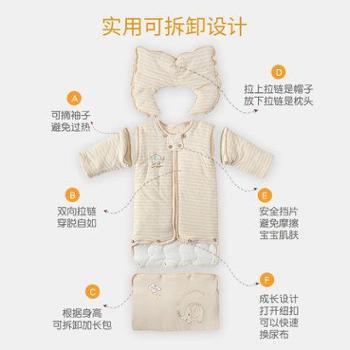 宜爽儿婴儿睡袋秋冬款加厚新生儿童彩棉防踢被冬季宝宝睡袋幼儿加长睡袋