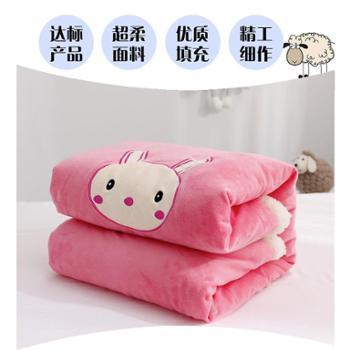 婴儿毛毯双层加厚保暖新生儿秋冬季珊瑚绒毯子儿童被子幼儿园盖毯 一件套
