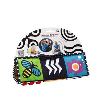 曼哈顿婴儿早教撕不烂带响布书 宝宝视觉激发黑白卡片 互动游戏毯