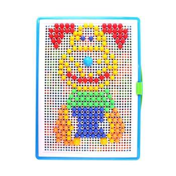 创意300粒蘑菇钉玩具拼插板组合幼儿园宝宝儿童巧钉拼图早教玩具