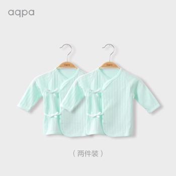 aqpa两件装新生儿衣服婴儿和尚服上衣男女宝宝纯棉内衣半背衣秋装