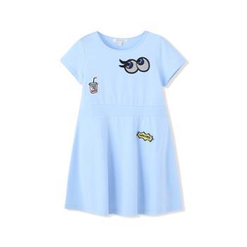 巴拉巴拉女童针织连衣裙粉红冰蓝