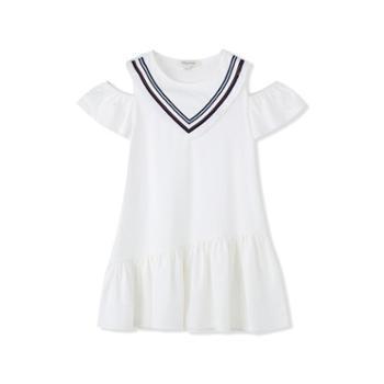 女童针织连衣裙冰蓝橙红本白