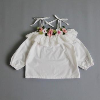 女童装上衣2019 春秋季儿童T恤吊带蕾丝花朵刺绣娃娃衫公主裙衫