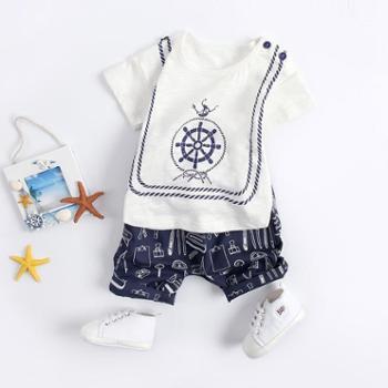 婴尚男童夏装套装夏季宝宝潮装0一1-3岁帅气洋气幼儿儿童童装婴儿衣服