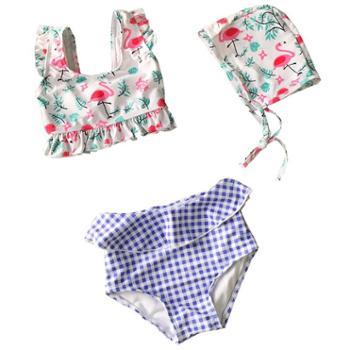 DUDU&MUMU韩国儿童泳衣 女孩分体宝宝泳衣女童幼儿1-3岁婴儿小童火烈鸟公主